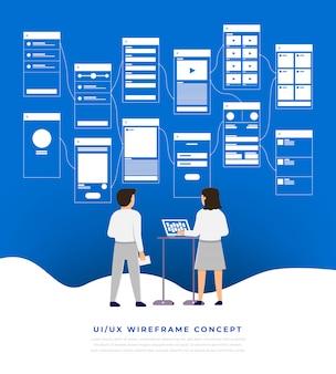 Diagramma di flusso dell'interfaccia utente ux. s concetto di applicazione mobile. illustrazione