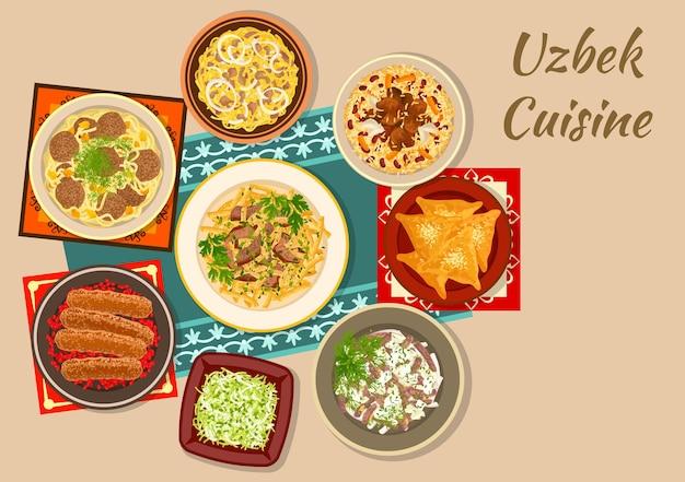 Piatti della cucina uzbeka firmare con samsa torta di carne, kebab con melograno, pilaf con fagioli, ravanelli sottaceto