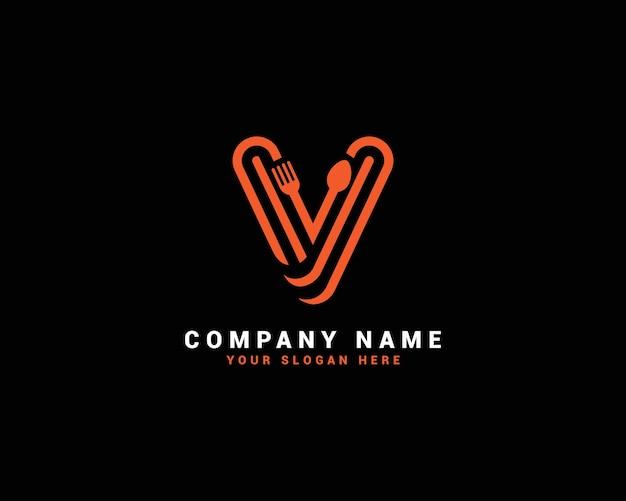 Logo della lettera di cibo v, logo della lettera del cucchiaio di v, set di logo della lettera di cibo, alfabeto del cibo