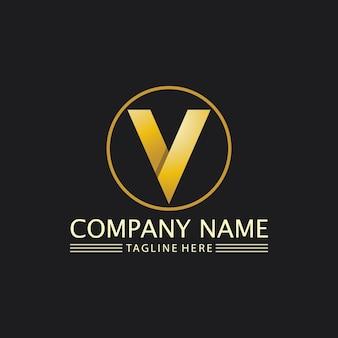 Illustrazione dell'icona di vettore del modello di logo della lettera v