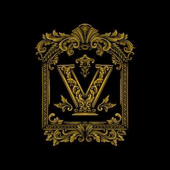 Marchio della lettera v con ornamento elegante