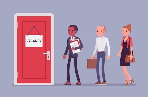 Segno della porta di posto vacante in ufficio e candidati di lavoro