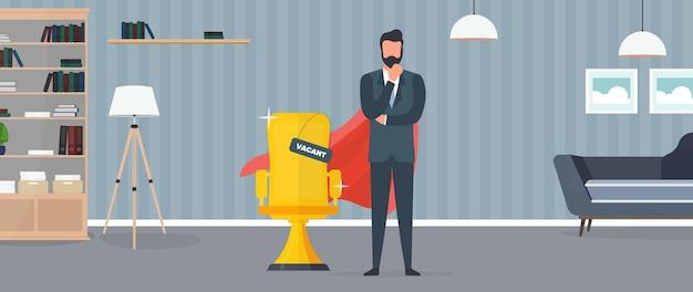 Posto libero. uomo d'affari con il mantello rosso del supereroe. sedia da ufficio dorata. il concetto di posto vacante aperto, ricerca e reclutamento di personale, risorse umane. vettore.