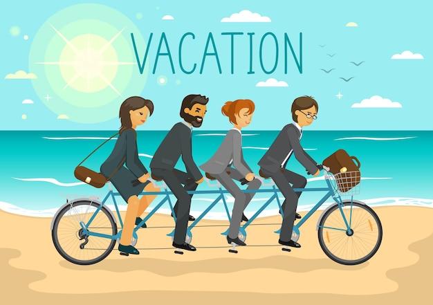 Uomini d'affari di vacanza e donne d'affari che guidano la bicicletta in tandem sulla spiaggia del mare di estate concetto di riposo di vacanze di vacanza