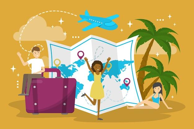 Concetto di vacanza. idea di viaggio e viaggio estivo