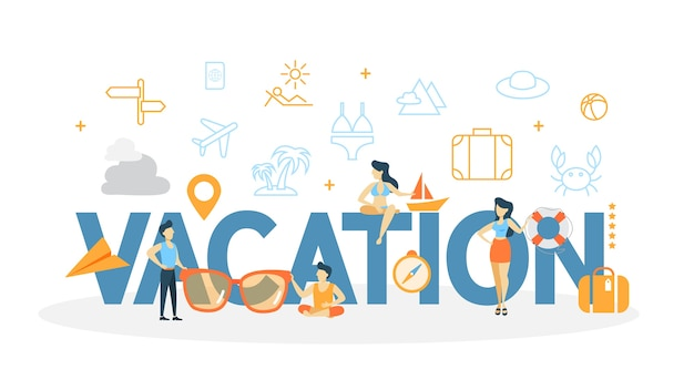 Illustrazione di concetto di vacanza. idea di relax e riposo.