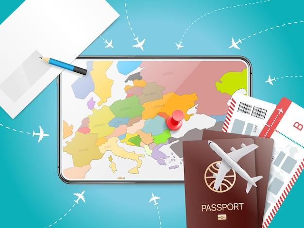 Concetto di vacanza con tablet moderno