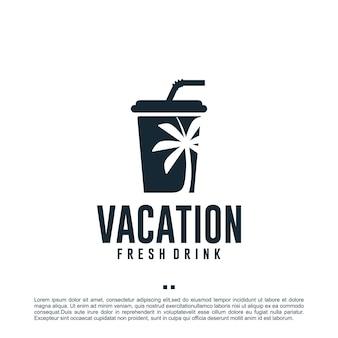 Bevanda per le vacanze, fresca, modello di progettazione del logo