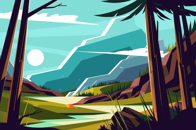 Vacanze in montagna illustrazione.