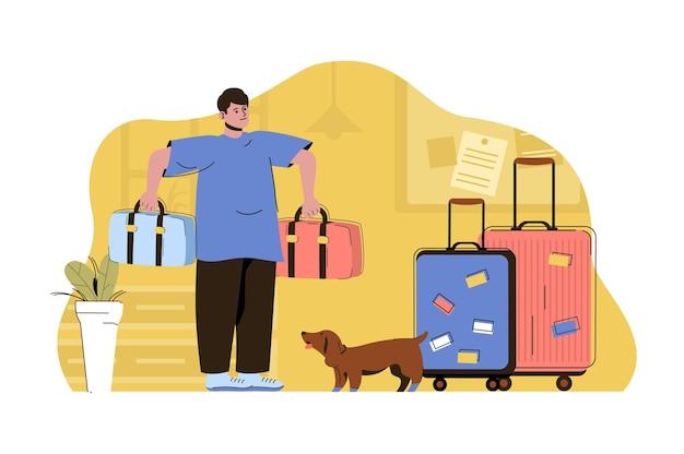 Concetto di preparazione alle vacanze uomo che imballa cose e vestiti in valigie e va in viaggio