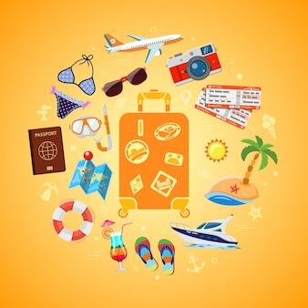 Vacanze, turismo, viaggi e concetto di estate con icone piane per sito web, pubblicità come valigia con passaporto, mappa, barca, macchina fotografica e maschera subacquea. isolato