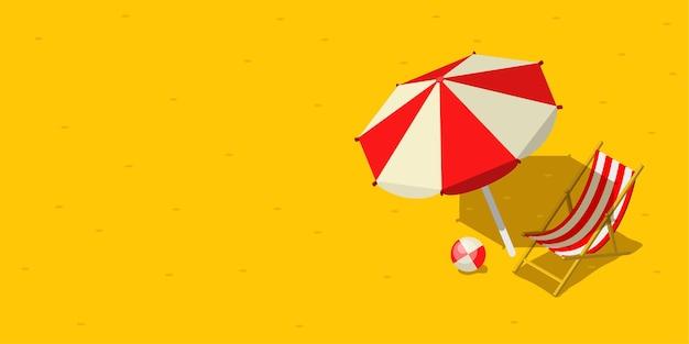 Concetto di vacanza e viaggio. ombrellone, sedia a sdraio e un pallone in spiaggia. stile piatto