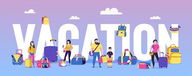 Concetto di vacanza e viaggio con persone e bagagli