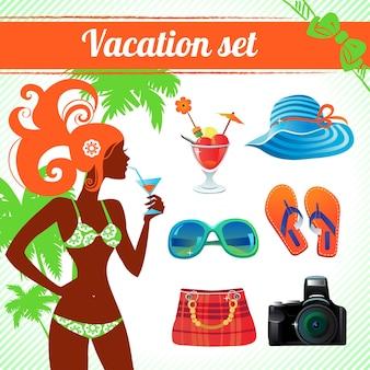 Set di icone per vacanze e viaggi, infografica per donne moderne