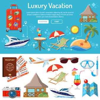 Infographics di vacanze, viaggi e turismo con icone piatte come barca, isola, cocktail e valigia. isolato