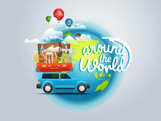 Concetto di viaggio di vacanza. intorno al mondo