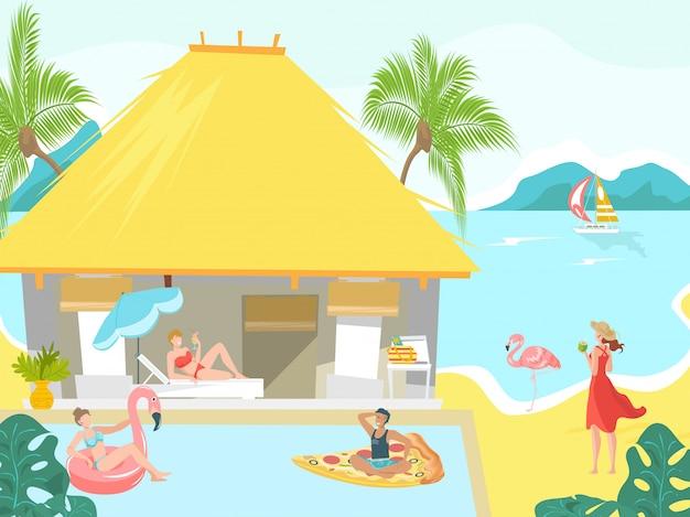 I vacanzieri alla spiaggia del bungalow della spiaggia prendono il sole sulla località di soggiorno tropicale, illustrazione di vacanza.