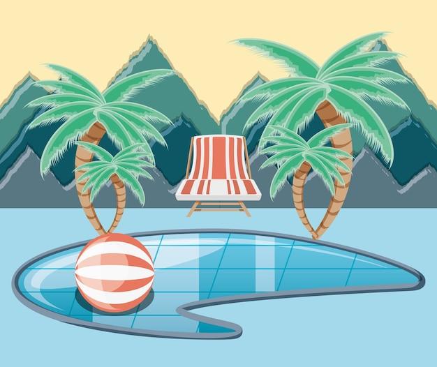Posto di vacanze con l'icona di scena di piscina vectorilustration