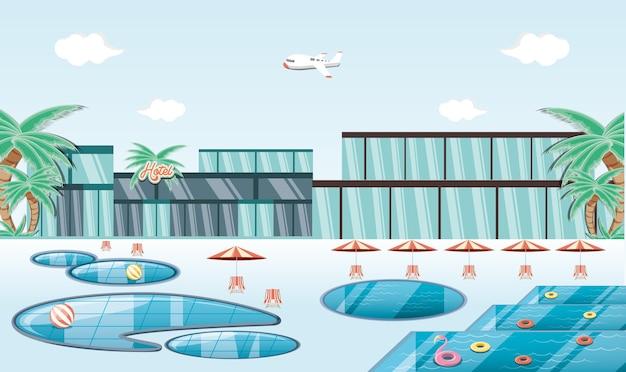 Luogo di vacanze con ilustration di vettore di scena scena piscina
