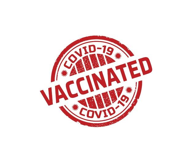Timbro rosso covid-19 vaccinato, design del timbro di gomma vaccinazione covid.