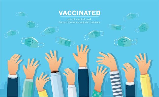 Vaccinato si toglie la maschera protettiva medica. fine dell'epidemia di coronavirus