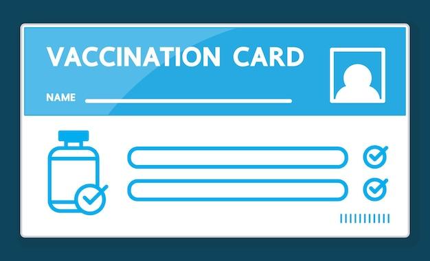 Design della carta di vaccinazione su sfondo blu