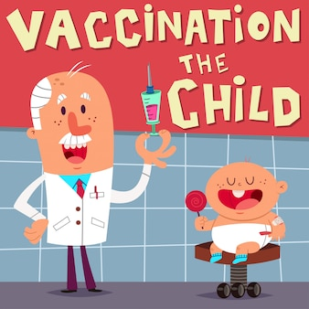 Vaccinazione del bambino con medico divertente. Vettore Premium