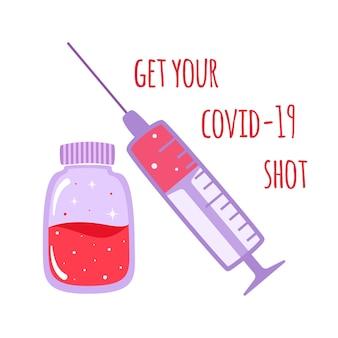 Banner di concetto di vaccinazione. vaccino sparato per proteggere dalle malattie in stile cartone animato. immunizzazione contro covid-19, illustrazione ..
