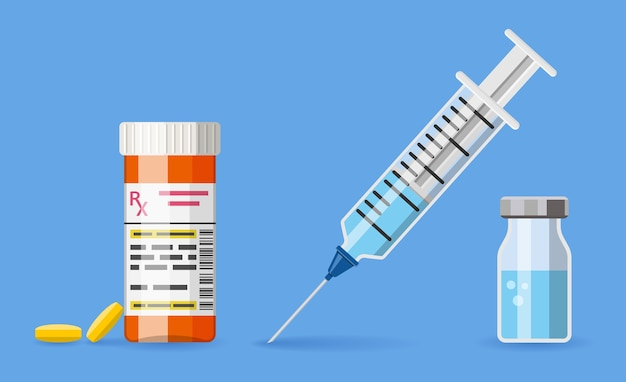 Bandiera di concetto di vaccinazione con la siringa