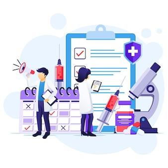 Concetto di vaccinazione, cura per il virus corona, tempo di vaccinare, medici con siringa, illustrazione della bottiglia di vaccino Vettore Premium