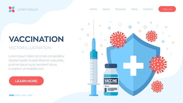 Concetto di vaccinazione. campagna di immunizzazione. colpo di vaccino. siringa con scudo di protezione del flacone di vaccino e virus.