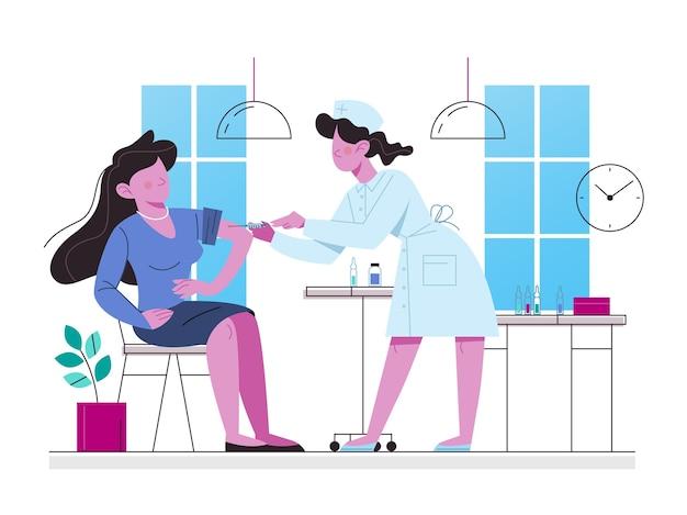 Concetto di vaccinazione. donna che ha un'iniezione di vaccino. idea di iniezione di vaccino per la protezione dalle malattie. cure mediche e assistenza sanitaria. metafora dell'immunizzazione. illustrazione