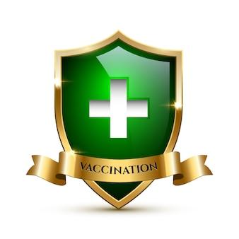 Modello di elemento di design di vaccinazione, scudo di vetro verde con cornice dorata e nastro con parola di vaccinazione.