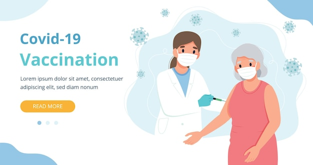 Vaccinazione per gli anziani, la donna anziana e un medico con una siringa. illustrazione di vettore del modello di pagina web dell'insegna in stile cartone animato piatto