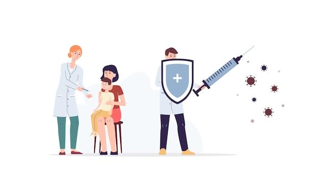 La vaccinazione e il concetto di assistenza sanitaria con i personaggi dei cartoni animati di medici che proteggono il paziente dalle malattie virali, piatto isolato su priorità bassa bianca.