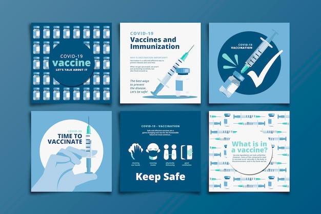 Set di post di instagram di vaccinazione Vettore Premium