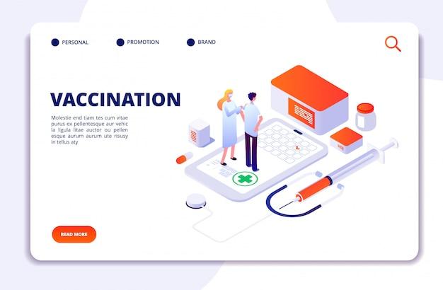 Concetto isometrico di vaccinazione. prevenzione dell'influenza assistenza sanitaria ai bambini. immunizzazione per adulti e bambini, landing page per iniezione con iniezione di influenza