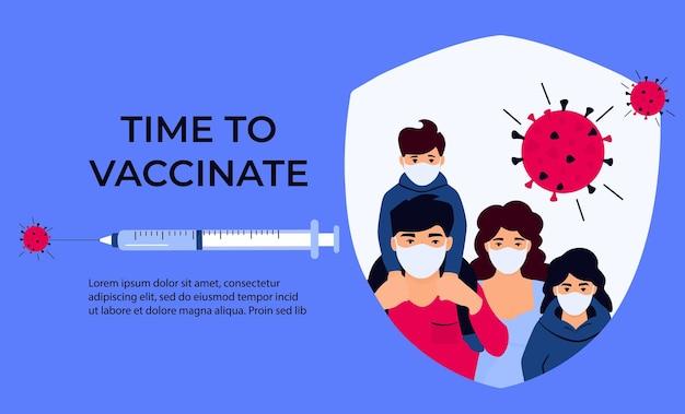 Vaccinazione. tempo di vaccinare. siringa con vaccino per coronavirus covid-19. immunizzazione.