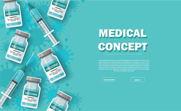 Sfondo del vaccino. concetto di vaccinazione. assistenza sanitaria e protezione