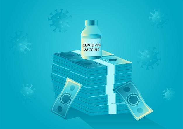 Flacone di vaccino su una pila di denaro che finanzia il profitto del vaccino per l'industria farmaceutica