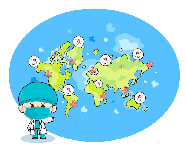Vaccino e coronavirus nell'illustrazione disegnata a mano di arte del fumetto della mappa del mondo