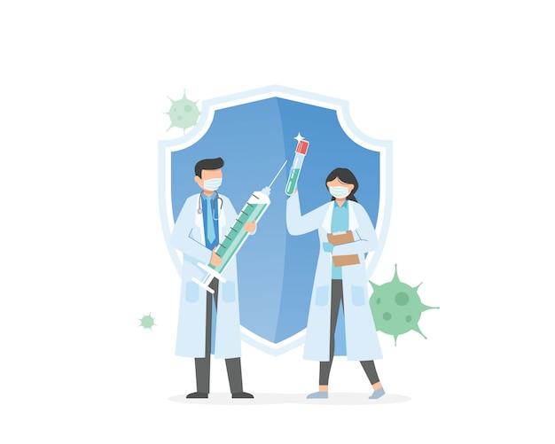 Sviluppo del vaccino, virus corona. medicina del vaccino 2019-ncov, siringa per iniezione