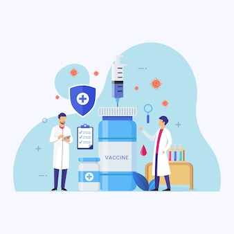 Illustrazione di concetto di progetto di programma di sviluppo di vaccini