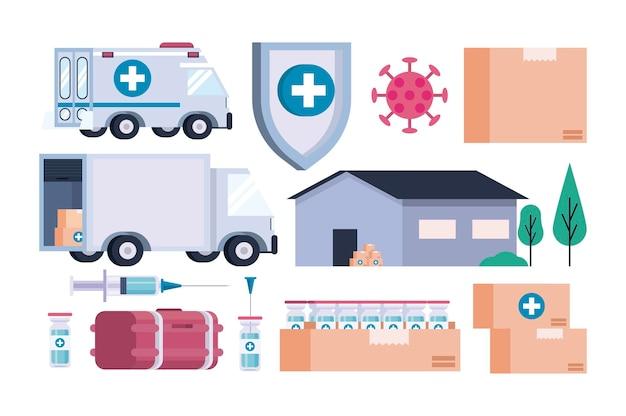 Tema di logistica di distribuzione del vaccino con l'illustrazione delle icone dell'insieme del fascio