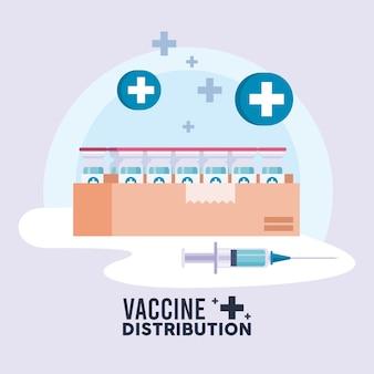 Tema della logistica di distribuzione del vaccino con fiale nella scatola e illustrazione della siringa