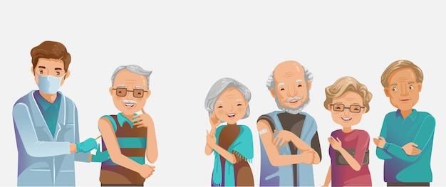 Vaccino anziani. iniettare il gruppo di anziani. il medico tiene un vecchio di vaccinazione per iniezione.