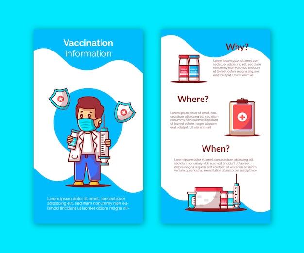 Modello di storie di instagram di informazioni sui vaccini Vettore Premium