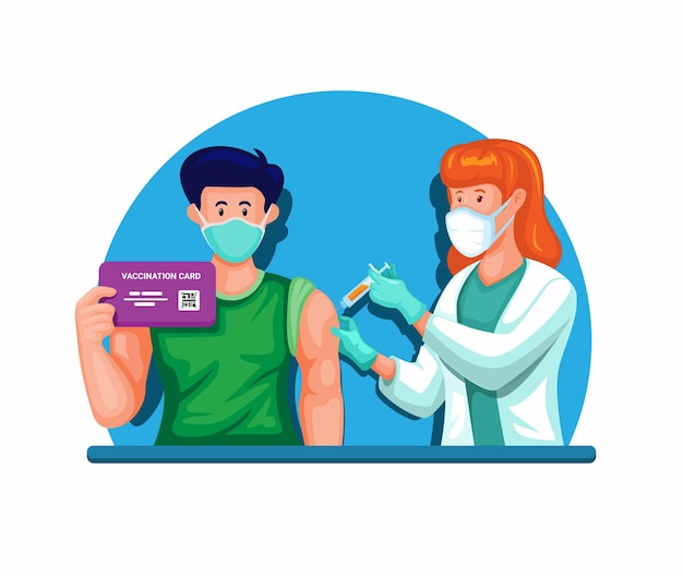 Iniezione di vaccino sull'uomo con in mano il vettore dell'illustrazione della carta del certificato di vaccinazione