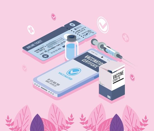 Passaporto del vaccino e biglietto aereo