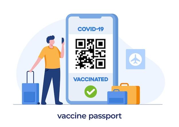 Passaporto del vaccino per i viaggi, l'immunizzazione, il certificato, la nuova normalità, il passaporto dell'immunità, il vettore piatto dell'illustrazione